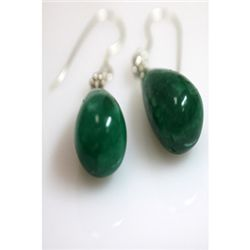 Natural 55.55ct Emerald Teardrop Earring .925 Sterling