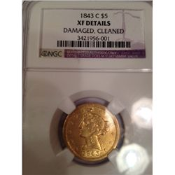 1843-C CHARLOTTE MINT VERY RARE $5 GOLD LIBERTY, NGC XF DETAILS