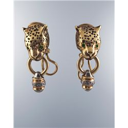 A Pair of 14 Karat Gold, Diamond and Emerald Panther Earrings
