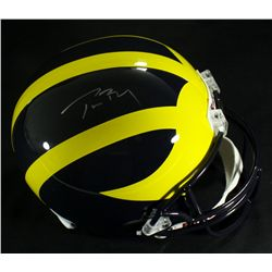Tom Brady Signed Michigan Full-Size Helmet (Mounted Memories COA)