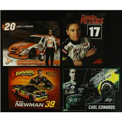 Lot of (4) Signed NASCAR 8x10 Photos Including Carl Edwards, Joey Logano, Timothy Peters (PA LOA)