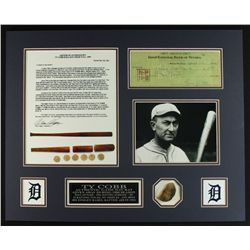 Ty Cobb 20x16 Custom Display Piece: Vintage Cobb Bat Section & Signed Check Copy (LOA)