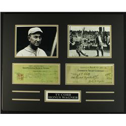 Honus Wagner & Ty Cobb 20x16 Custom Display Piece with Signed Check Copies