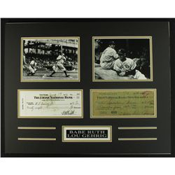 Babe Ruth & Lou Gehrig 20x16 Custom Piece with Signed Check Copies