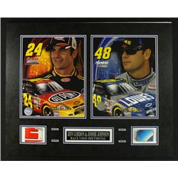 Jeff Gordon & Jimmie Johnson NASCAR 20x16 Custom Display Piece with Race-Used Sheet Metal (COA)