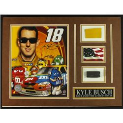 Kyle Busch NASCAR 16x12 Custom Display Piece with Sheet Metal & Race-Used Tire (COA)
