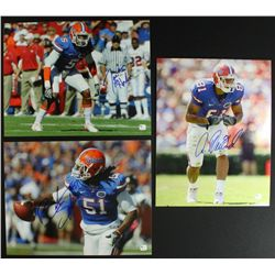 Lot of (3) Florida Signed 11x14 Photos: Joe Haden, Brandon Spikes & Aaron Hernandez (GA COA)