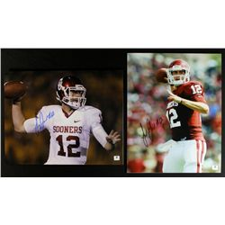 Lot of (2) Landry Jones Signed Oklahoma 11x14 Photos (GA COA)