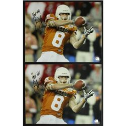 "Lot of (2) Jordan Shipley Signed Texas 11x14 Photos: Inscribed ""Hook' Em"" (GA COA)"