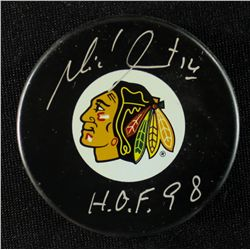 "Michel Goulet Signed Blackhawks Logo Puck: Inscribed ""HOF 98"" (Schwartz COA)"