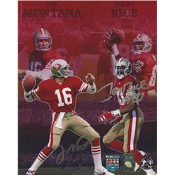 Jerry Rice & Joe Montana Signed 49ers 8x10 Photo (Player Holograms)