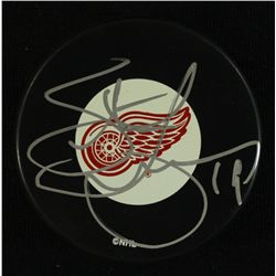 Steve Yzerman Signed Red Wings Logo Puck (JSA COA)
