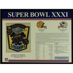 Super Bowl XXXI Patch With 12x9 Scorecard: Packers vs. Patriots