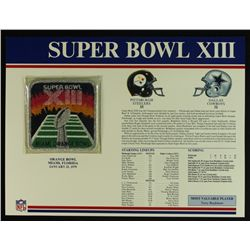Super Bowl XIII Patch With 12x9 Scorecard: Steelers vs. Cowboys