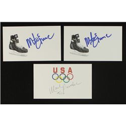 Lot of (3) Signed US Hockey Index Cards: Mike Eruzione & Mark Pavelich (PA LOA)