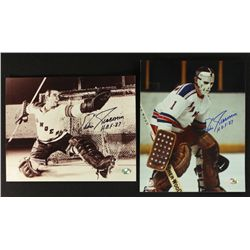 "Lot of (2) Eddie Giacomin Signed Rangers 8x10 Photos: Inscribed ""HOF 87"" (Fameabilia)"