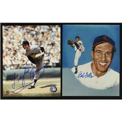 Lot of (2) Signed Baseball 8x10 Photos: Bob Feller & Gaylord Perry (PA LOA)
