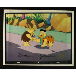 The Flintstones Original Animation Production Cel Signed by Bill Hanna & Joseph Barbera (WB LOA)