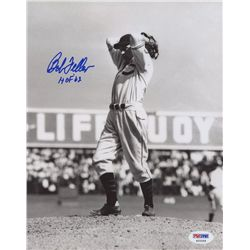 "Bob Feller Signed Indians 8x10 Photo: Inscribed ""HOF 62"" (PSA COA)"