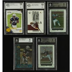 Lot of (5) Graded Football Cards with Ryan Mathews RC, Braylon Edwards RC, Ronnie Brown RC