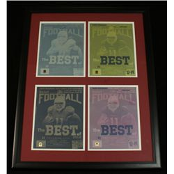 Set of (4) Larry Fitzgerald Cardinals 1/1 Beckett Printing Plates Custom Framed to 24x31