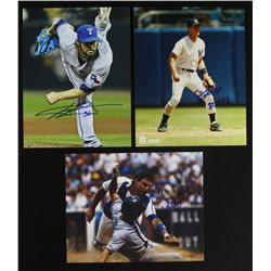 Lot of (3) Signed Baseball Photos: Steve Sax, CJ Wilson & Mike Scioscia (PA LOA)