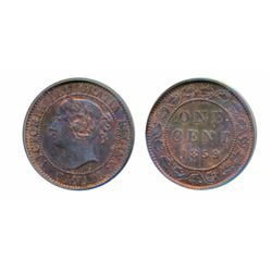 1859. Wide 9/8. PCGS graded Mint State-63. Red-Brown. 30% red luster. Another mint state example of