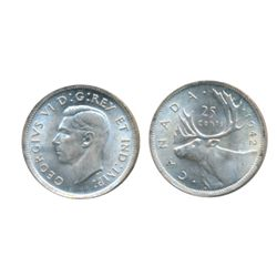 1942. ICCS Mint State-64. Lot of two (2) blast white coins.