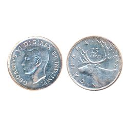 1947, Maple Leaf. ICCS Mint State-63; 50 CENTS. 1950. ICCS Mint State-62. Both brilliant and lustrou