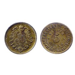 Breton-586. LeRoux Coin Cabinet. English. ICCS Mint State-62. Breton-589. Gesangverein. 5 Cents. Arm