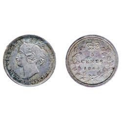 FIVE CENTS. 1864. Small '6' variety. ICCS Mint State-64. Pleasing gray-purple toning, evenly distrib