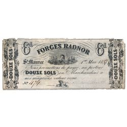 FORGES RADNER, St. Maurice, C.E. Six Pence, (12 sols). 1 May, 1859. CH-QC170-10-02R. A Remainder. Ta