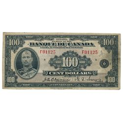 BANK OF CANADA. $100.00 1935 Issue. French Text. BC-16. No. F01125/B. PMG graded Very Fine-20.