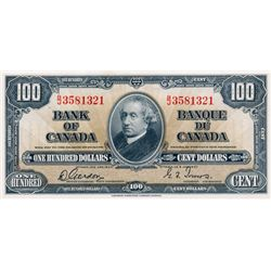 BANK OF CANADA. $100.00. 1937 Issue. BC-27b. Gordon-Towers. No. B/J3581321. Unc. Ex. L. Knight. June