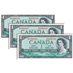 BANK OF CANADA. $1.00. 1954 Issue. BC-37b. Beattie-Rasminsky. No. W/W0299106, 9107, 9108. Lot of thr