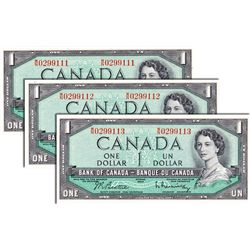 BANK OF CANADA. $1.00. 1954 Issue. BC-37b. Beattie-Rasminsky. No. W/N0299111, 9112, 9113. Lot of thr