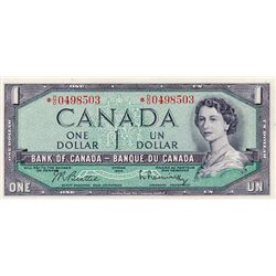 BANK OF CANADA. $1.00. 1954 Issue. BC-37bA. Modified. No. *D/D0049503. CCCS graded Unc-63.