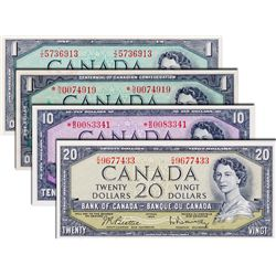 BANK OF CANADA. $1.00. 1954 Issue. BC-37b-i. No. Y/Z5736913. BCS graded Almost Unc-58; $1.00. 1967 I