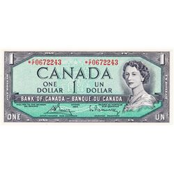 BANK OF CANADA. $1.00. 1954 Issue. BC-37cA. No. *C/F0672243. PCGS graded Gem 66. PPQ. THE BANK OF TO