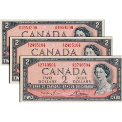 BANK OF CANADA. $2.00. 1954 Issue. BC-38bT. No.S/R1954209. BC-38cT. No. S/R2485104 BC-38dT. No.  S/R