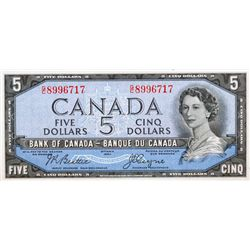 BANK OF CANADA. $5.00. 1954 Issue. BC-31b. Beattie-Coyne. 'Devil's Face'. No. G/C8996717. PCGS grade