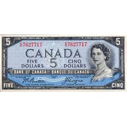 BANK OF CANADA. $5.00. 1954 Issue. BC-31b. Beattie-Coyne. 'Devil's Face'. No. E/C7627717. CCCS grade