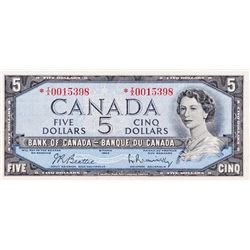 BANK OF CANADA. $5.00. 1954 Issue. BC-39bA. Beattie- Rasminsky. No. *I/X0015398. BCS graded Very Fin