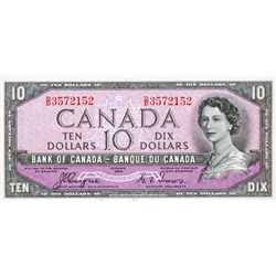 BANK OF CANADA. $10.00. 1954 Issue. BC-32a. Coyne-Towers. 'Devil's Face'. No. D/D3572152. BCS graded