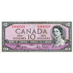 BANK OF CANADA. $10.00. 1954 Issue. BC-32a. Coyne-Towers. 'Devil's Face'. No. D/D3648529. PCGS grade