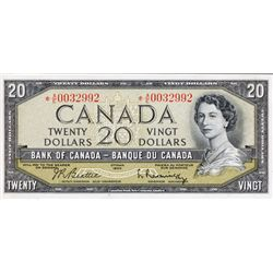 BANK OF CANADA. $20.00. 1954 Issue. BC-41bA. Beattie-Rasminsky. Modified. No. *A/E0032992. PCGS grad