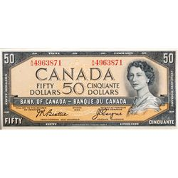 BANK OF CANADA. $50.00. 1954 Issue. BC-42a. Beattie-Coyne. Modified. No. A/H4963871. CCCS graded Unc
