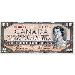 BANK OF CANADA. $100.00. 1954 Issue. BC-35a. Coyne-Towers. 'Devil's Face'. No. A/J0119645. PCGS grad