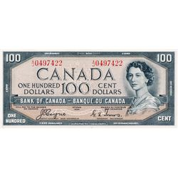 BANK OF CANADA. $100.00. 1954 Issue. BC-35a. Coyne-Towers. 'Devil's Face'. No. A/J0497422. BCS grade