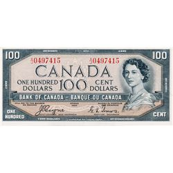 BANK OF CANADA. $100.00. 1954 Issue. BC-35a. Coyne-Towers. 'Devil's Face'. No. A/J0497415. BCS grade